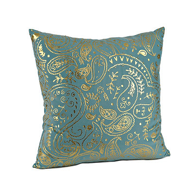 Aqua Metallic Paisley Pillow