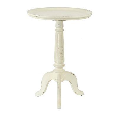 Distressed Cream Pedestal Table
