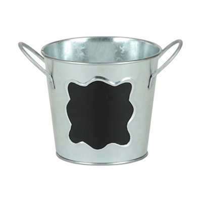Small Galvanized Metal and Chalkboard Bucket