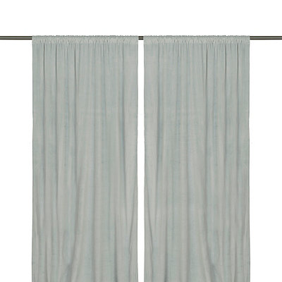 Aqua Velvet Curtain Panel Set, 96 in.