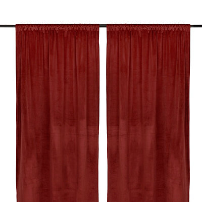 Red Velvet Curtain Panel Set, 96 in.