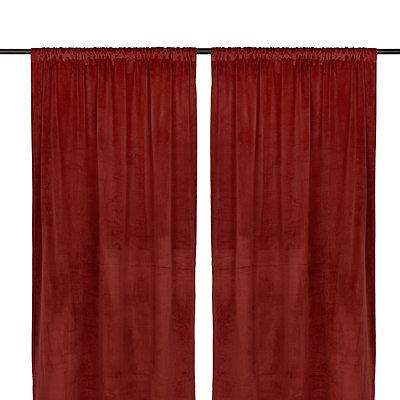 Red Velvet Curtain Panel Set, 96 in.