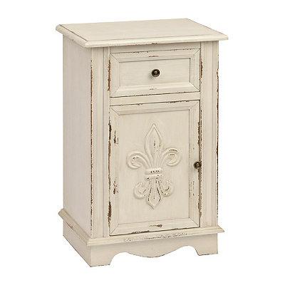 Antique White Fleur-de-Lis Cabinet