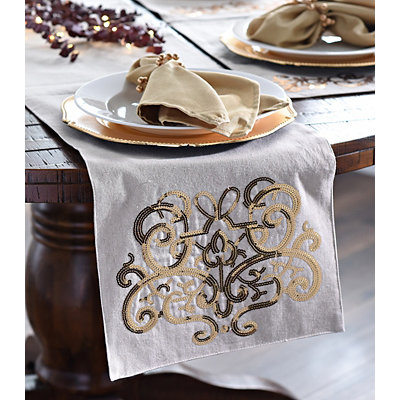 Gold Sequin Scroll Table Runner