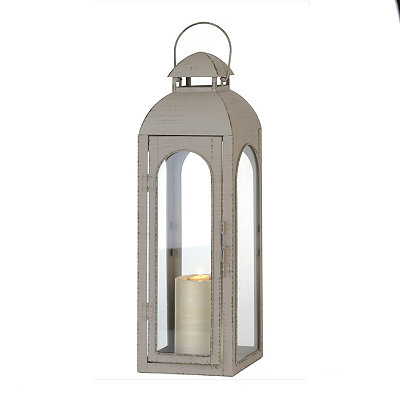 Distressed Gray Metal Lantern