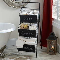 Black Metal Chalkboard 3-Tier Crate Tower