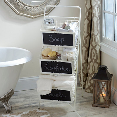 Cream Metal Chalkboard 3-Tier Crate Tower