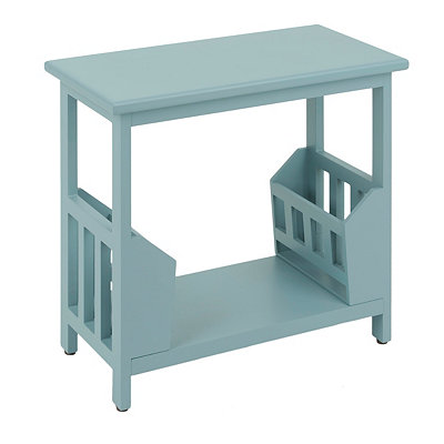 Blue Wooden Magazine Rack Accent Table