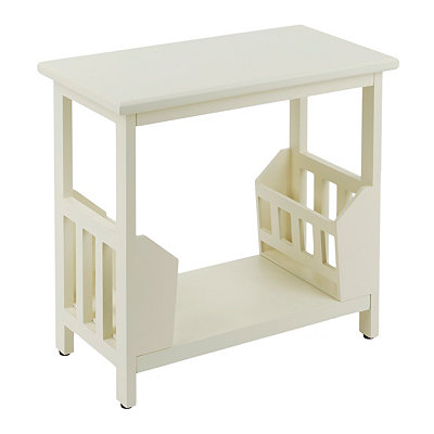 Cream Wooden Magazine Rack Accent Table