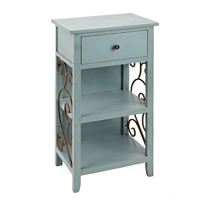 Turquoise Scroll 2-Shelf Side Table