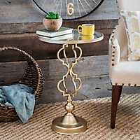 Gold Geometric Mirrored Side Table