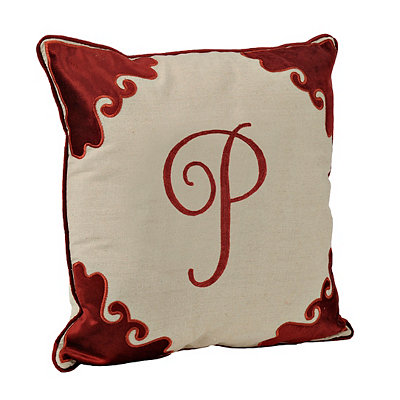 Red Velvet Monogram P Pillow