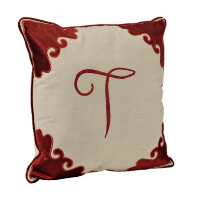 Red Velvet Monogram T Pillow