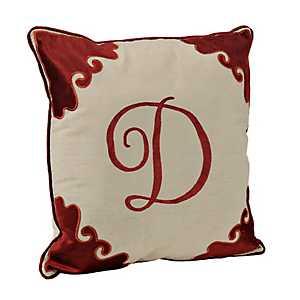 Red Velvet Monogram D Pillow