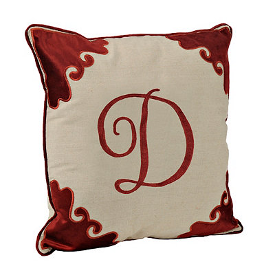 Red Velvet Monogram D Pillow