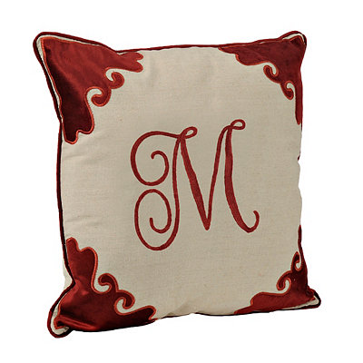 Red Velvet Monogram M Pillow