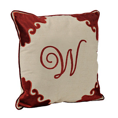 Red Velvet Monogram W Pillow