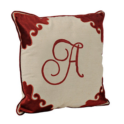 Red Velvet Monogram A Pillow