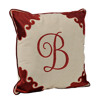 Red Velvet Monogram B Pillow