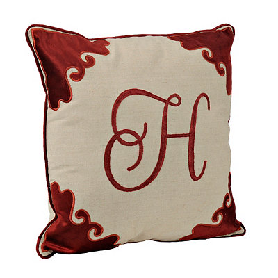 Red Velvet Monogram H Pillow