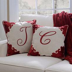 Red Velvet Monogram Pillow
