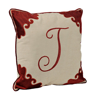 Red Velvet Monogram J Pillow