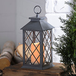 Gray Criss-Cross LED Lantern