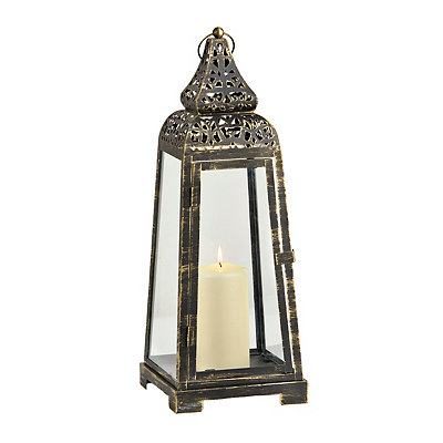 Brushed Black and Gold Pyramid Lantern