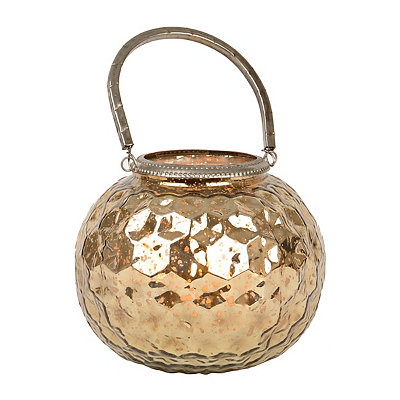 Rose Gold Mercury Glass Votive Lantern