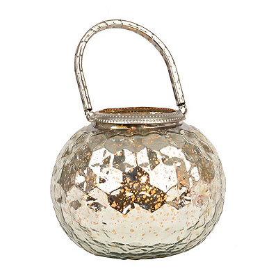 Silver Mercury Glass Votive Lantern