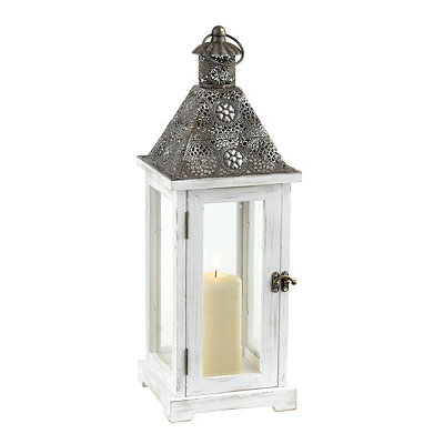 Pierced Ivory Wood and Metal Lantern