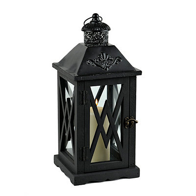 Black Crossed Wood Lantern