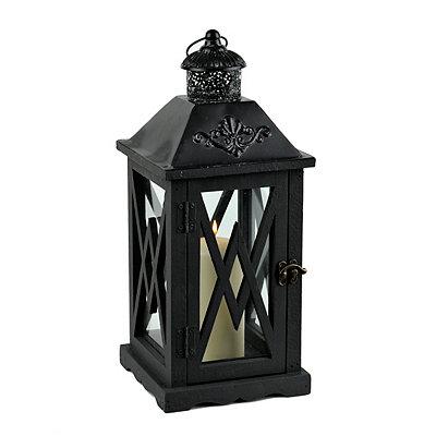 Black Crossed Wood Lantern