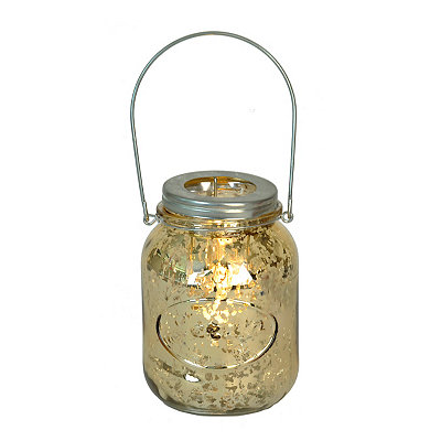 Gold Mercury Glass Mason Jar Candle Holder