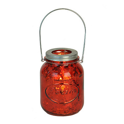 Red Mercury Glass Mason Jar Candle Holder