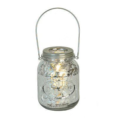 Silver Mercury Glass Mason Jar Candle Holder