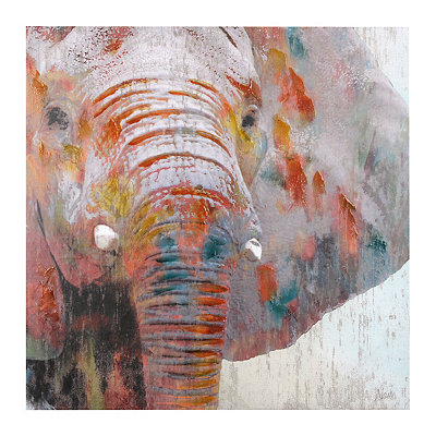 Multicolor Elephant Canvas Art Print