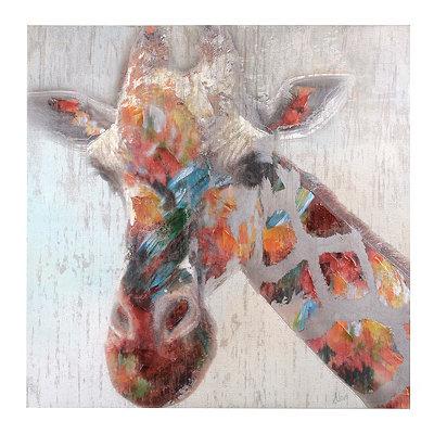 Multi Color Giraffe Canvas Art Print