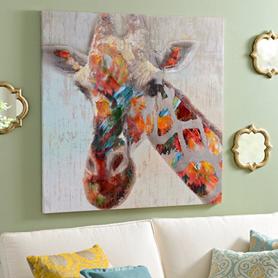 Multicolor Giraffe Canvas Art Print