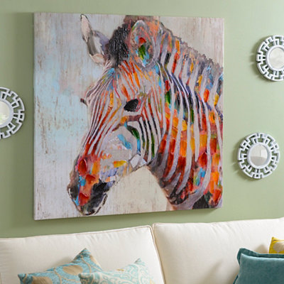 Multicolor Zebra Canvas Art Print