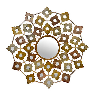 Metallic Quatrefoil Decorative Mirror, 29 in.