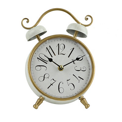 White and Gold Round Tabletop Clock