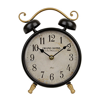 Black Grand Hotel Round Tabletop Clock