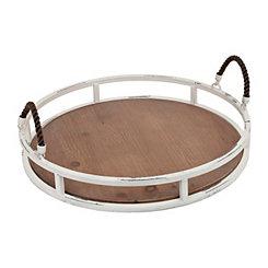White Natural Round Metal & Wood Tray