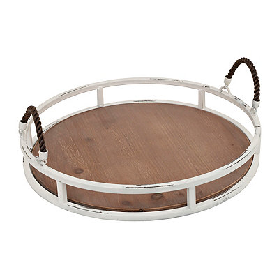 White Natural Round Metal & Wood Tray