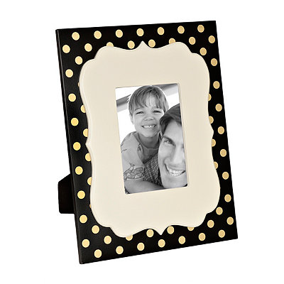 Black and Metallic Gold Dot Picture Frame, 5x7