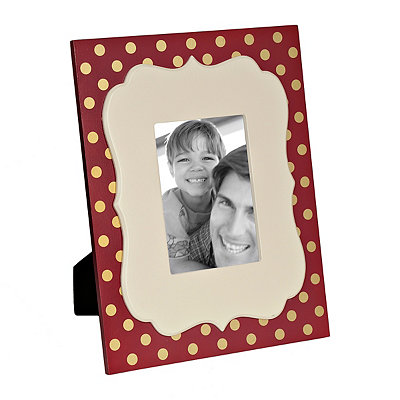 Marsala and Metallic Gold Dot Picture Frame, 5x7