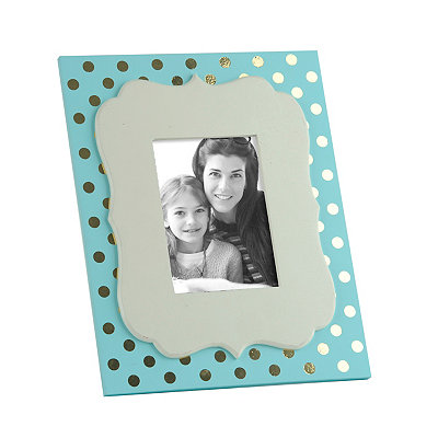 Turquoise and Metallic Gold Dot Picture Frame, 5x7