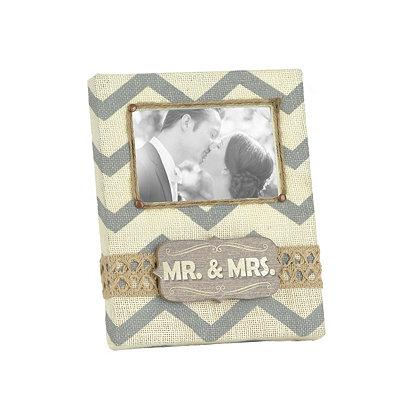 Burlap Chevron Mr. & Mrs. Picture Frame, 4x6
