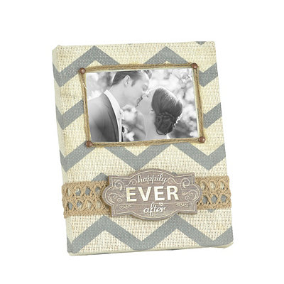 Burlap Chevron Ever After Picture Frame, 4x6